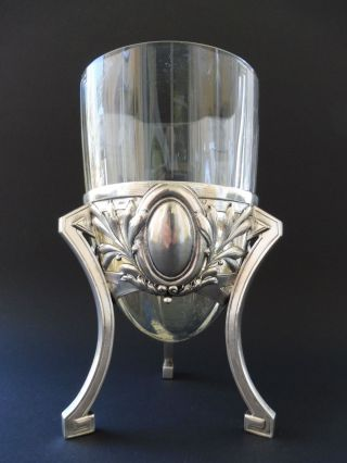 :: Jugendstil 800 Silber JÄger Wien Traube WÄscher Grape Vase Floral Art Nouveau Bild