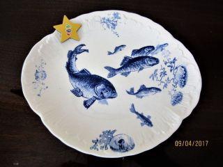 Villeroy&boch Serie Delphin Fischteller Mettlach Um 1900 Bild
