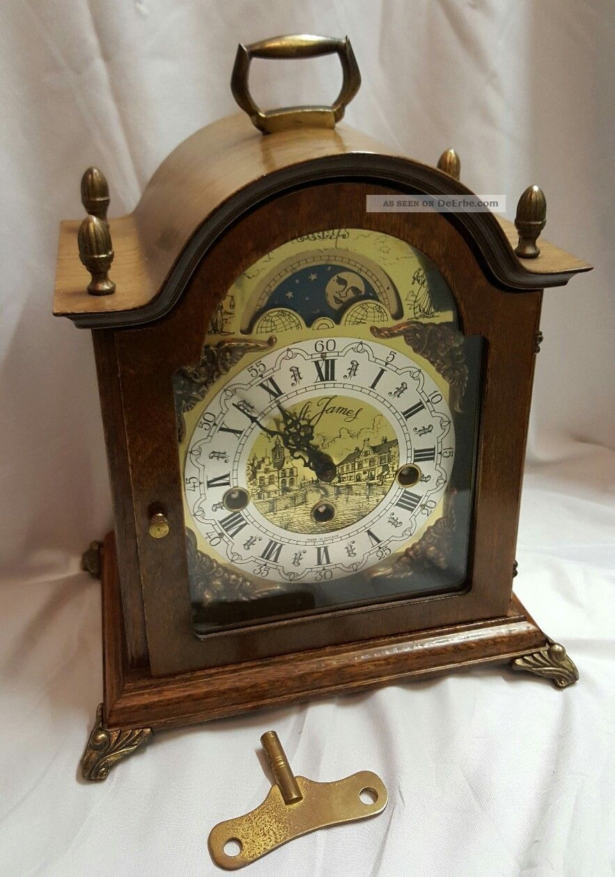 Westminster,  Tischuhr,  Kaminuhr,  Bracket Clock,  Sammleruhren,  Mondphase Antike Originale vor 1950 Bild
