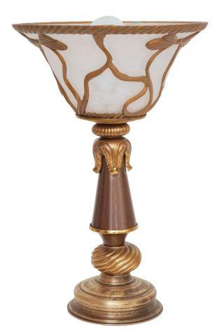 Einzelstück Ungewöhnliche Jugendstil Landhaus Tischleuchte Tischlampe Messing Bild