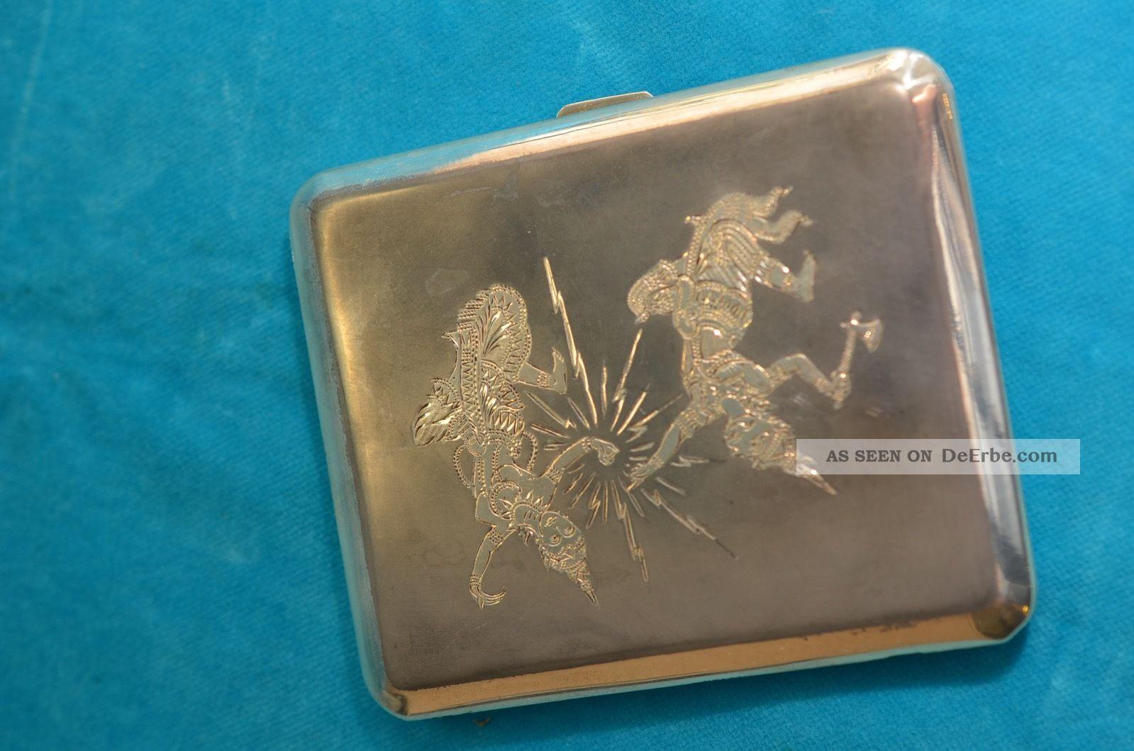 Sterlingsilber 925 Zigarettenetui Mit Asiatischen Motiven Objekte nach 1945 Bild