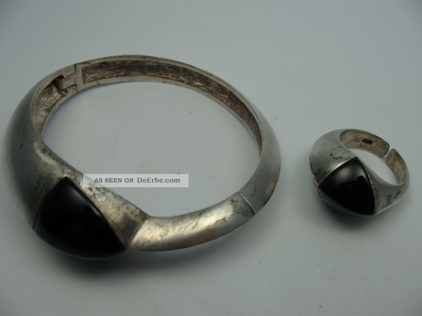 Schönes 2 Teiliges 60er 70er Jahre Schmuckset Aus 800 Silber Mit Onyx Schmuck & Accessoires Bild