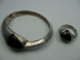 Schönes 2 Teiliges 60er 70er Jahre Schmuckset Aus 800 Silber Mit Onyx Bild