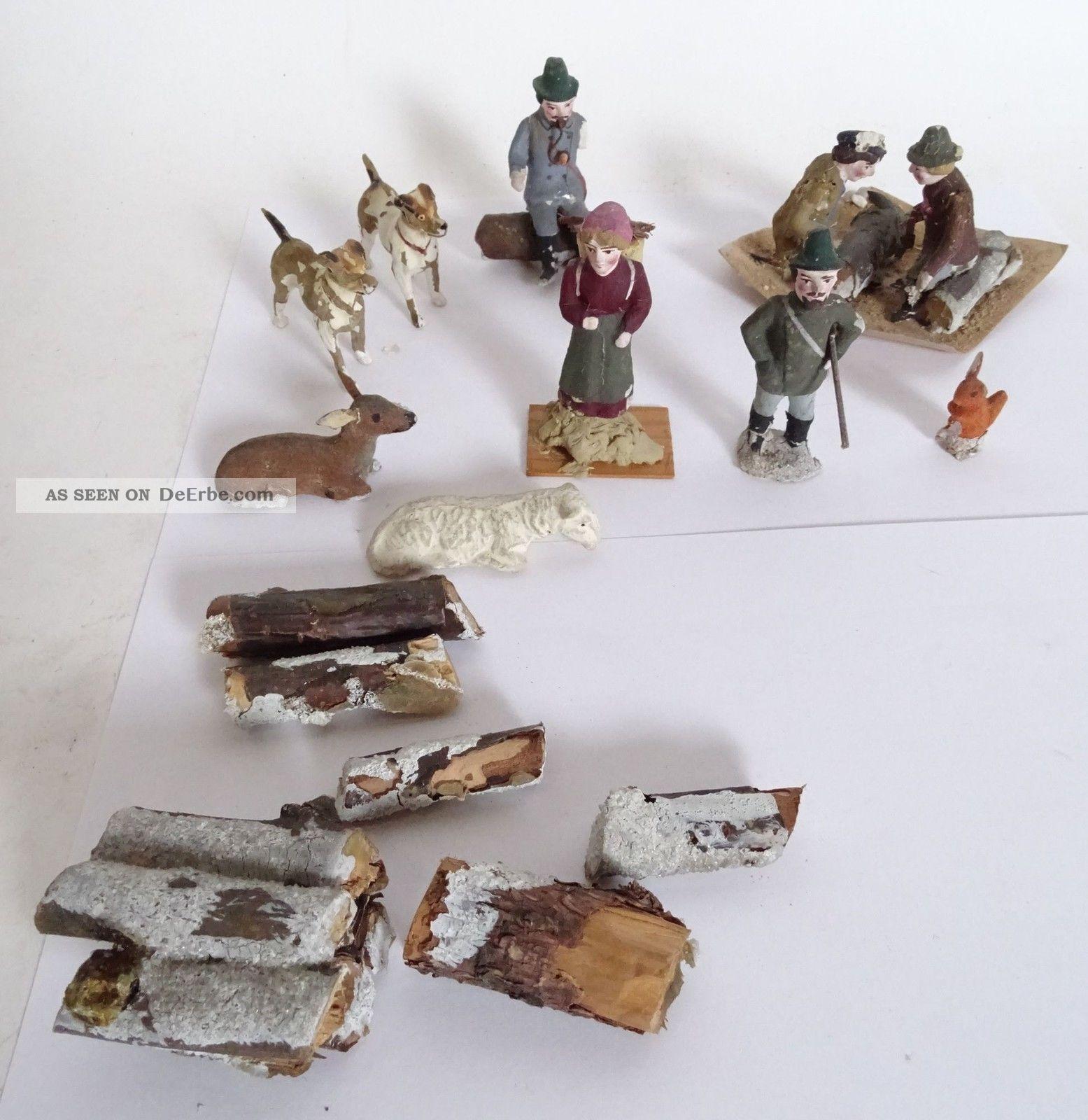 Antikes Konvolut Massefiguren Jäger Hunde Schaf Eichhörnchen Reh Bauer Feuer Gefertigt vor 1945 Bild