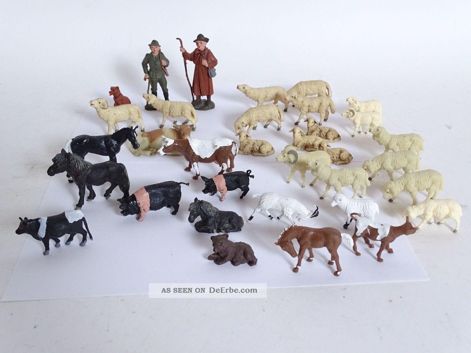 Großes Konvolut Antiker Kunststoff Aufstellfiguren Tiere Schäfer Jäger Bauernhof Gefertigt nach 1945 Bild