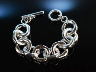 Big Silver Bracelet Trendiges Grosses Glieder Armabnd Sterling Silber 925 Bild