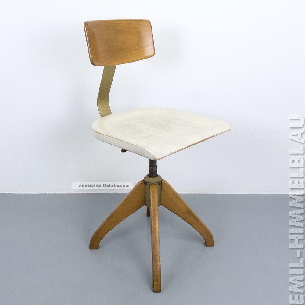 Werkstatt BÜro Stuhl Weiss Ama Elastik 364 Architektenstuhl Industrie Vintage 1920-1949, Art Déco Bild