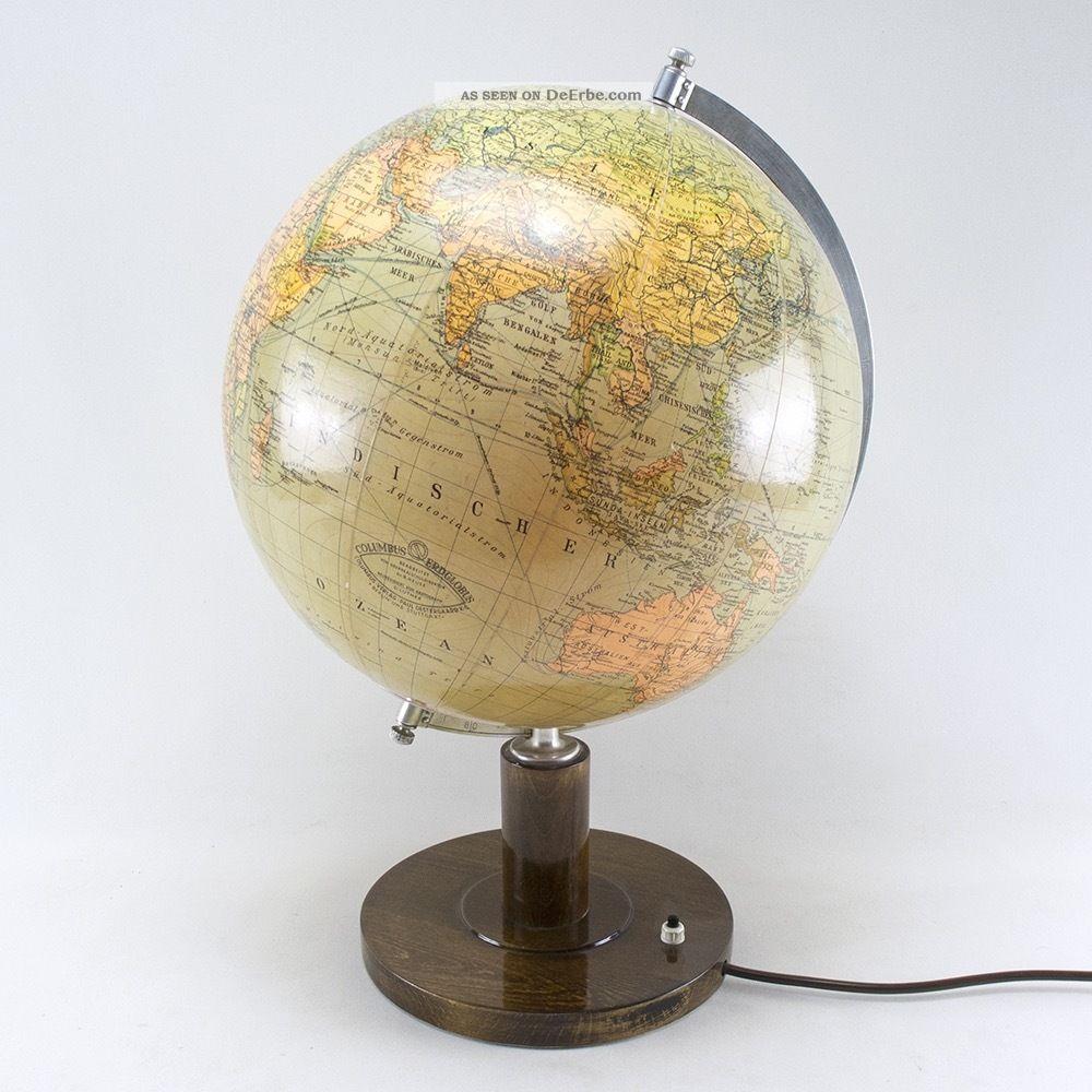 globus columbus glas lampe holz beleuchtet vintage mid century 60s 60er. Black Bedroom Furniture Sets. Home Design Ideas