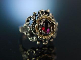 Ring Zur Tracht Silber Vergoldet Granat Salzburg Um 1930 Vintage Garnet Bild