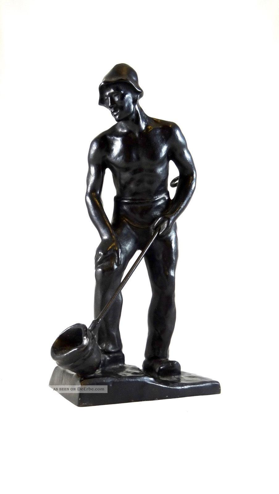 Carl Bourcarde Der Gießer GeschwÄrzter Eisenguss Skulptur Buderus 1936 1920-1949, Art Déco Bild