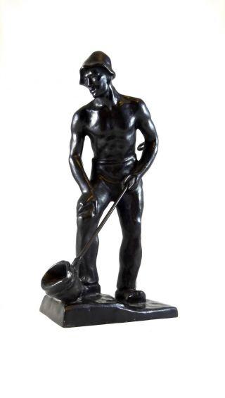 Carl Bourcarde Der Gießer GeschwÄrzter Eisenguss Skulptur Buderus 1936 Bild