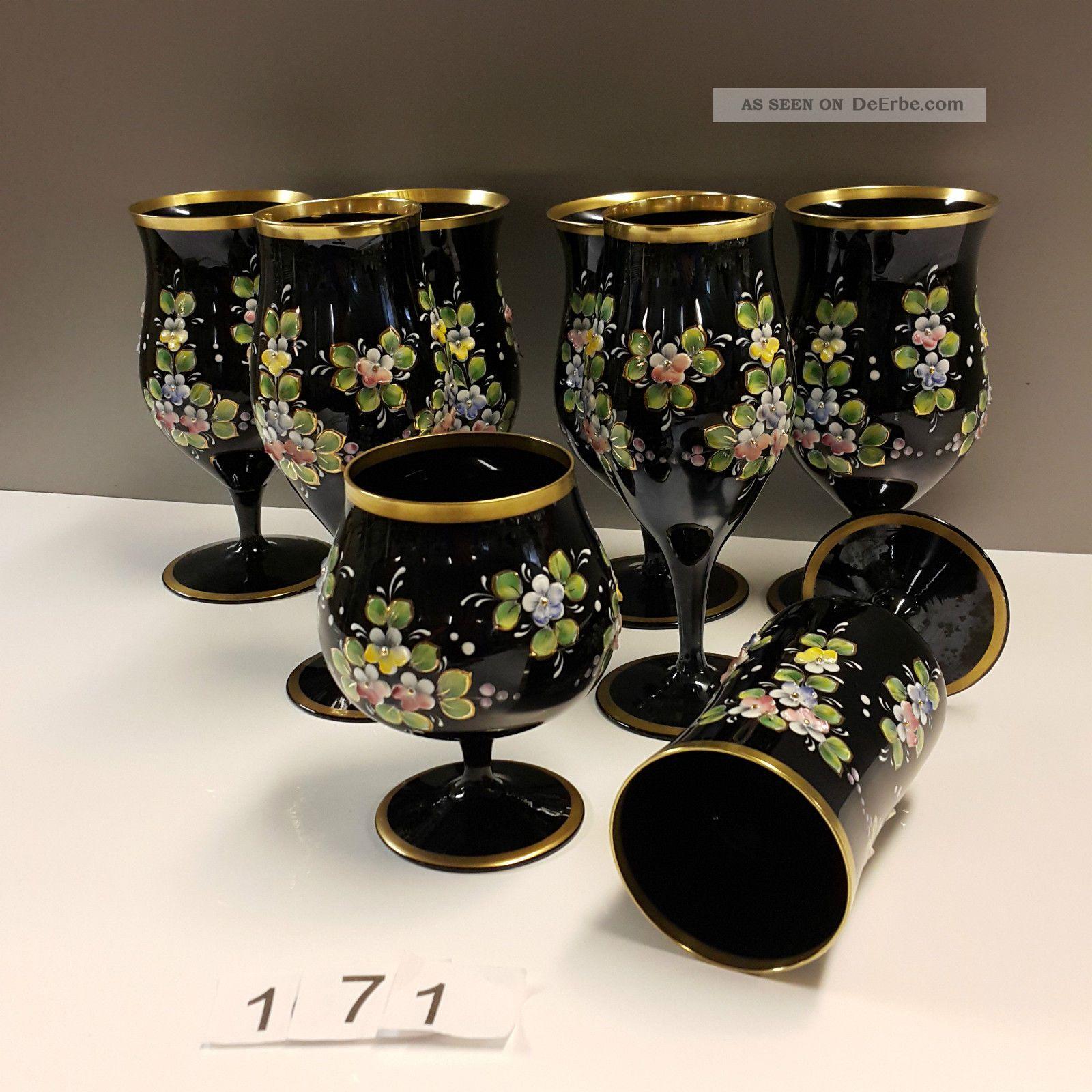 Sammlung 8 Versch.  Hyalithglas Schwarzglas Gläser Mit Goldrand Emaille Bemalung Kristall Bild