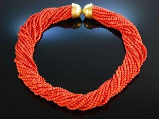 Sardegna Torsade Korallen Kette Collier 20 Reihig Gold 750 Coral Necklace Bild
