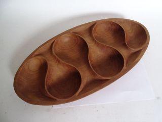 Hand Carved Teakholz Anbietschale Schale In Ausgefallenem Design Bild