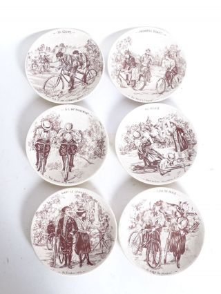 6 Saint Clement France Antike Keramik Teller Fahrrad Vélo Sammelteller Bild
