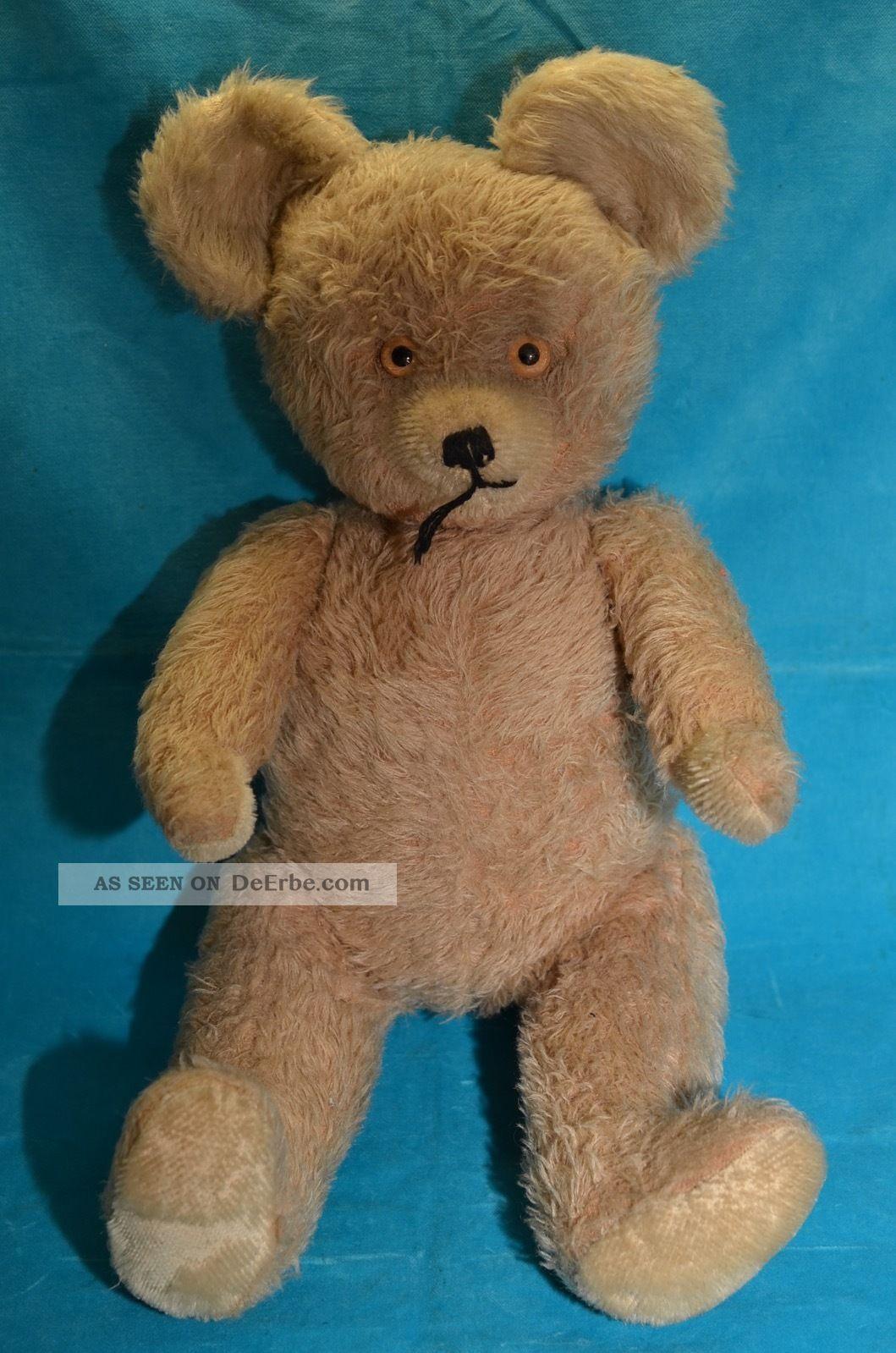 Alter Teddy Mit Scheibengelenken 46 Cm Stofftiere & Teddybären Bild
