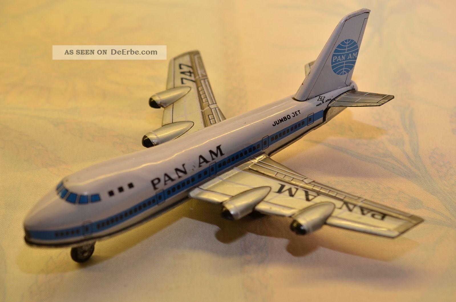 Sammlerstück Pan Am Blechflugzeug Schwungradantrieb Made In Japan 60er Jahre Original, gefertigt 1945-1970 Bild
