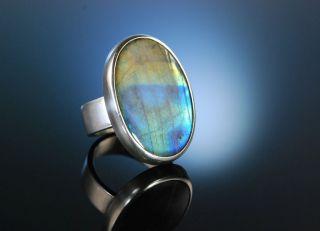 Seventies Schillernder Grosser Vintage Ring Silber 925 Massiv Labradorit Bild