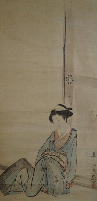Antikes Japanisches Rollbild Kakejiku Schönheit Im Kimono Japan Scroll 3477 Bild