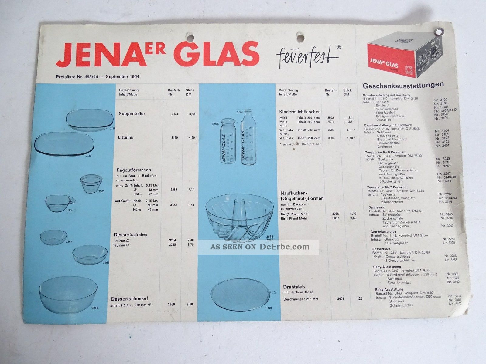 Rarität Jenaer Glas Wagenfeld Schott 4 Seitig Broschüre Produkte Und Preise 1965 1920-1949, Art Déco Bild