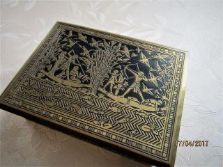 Messingdose Niello ägyptische Jagdmotive Art Deco Holzkorpus Motive Vogeljagd Bild