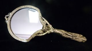 Alter Jugendstil Handspiegel - Bronze/messing - Schwer Und Wunderschön Bild
