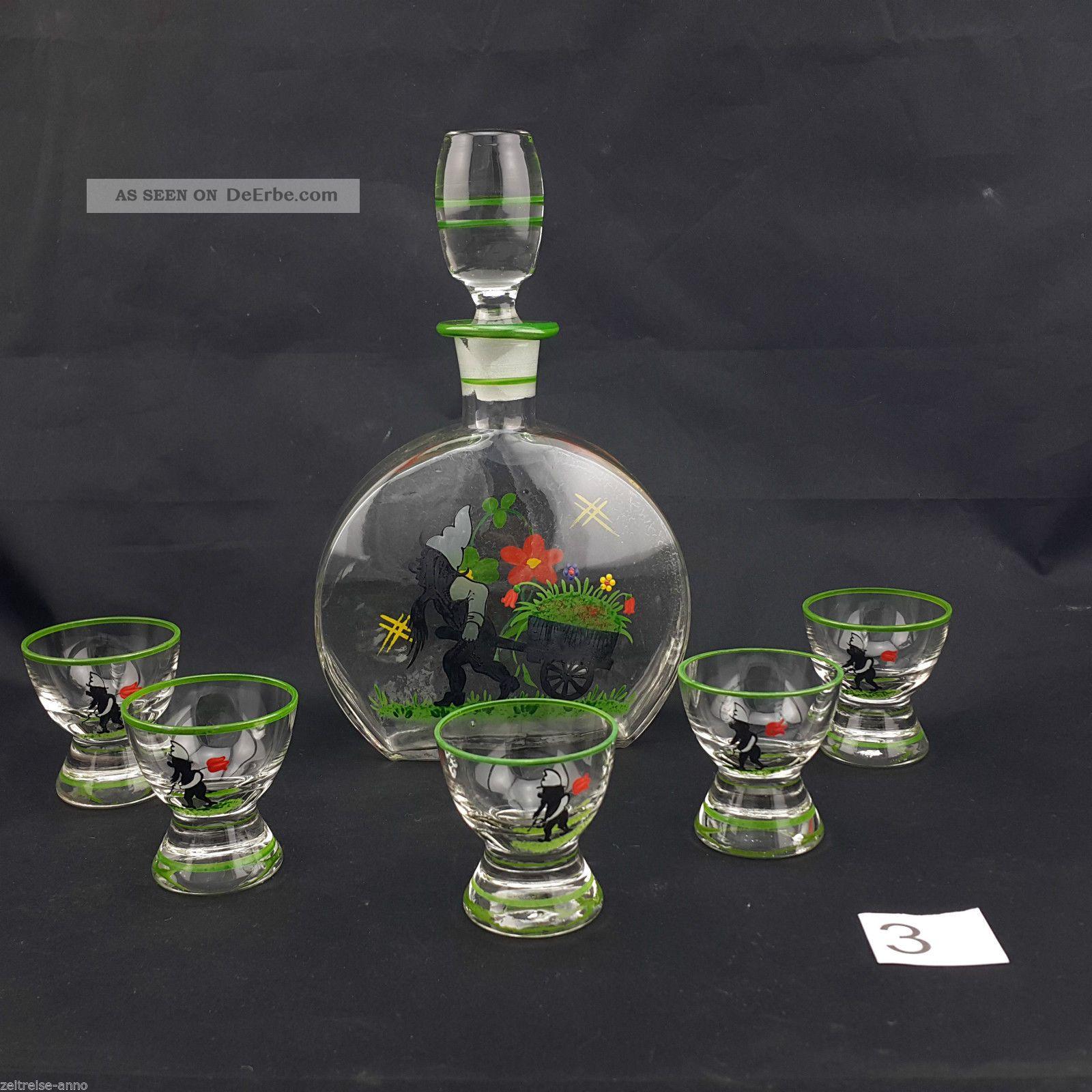 Schnapsflasche 5 Schnapsgläser Antik Glas Emaille Likör Karaffe Handbemalt Zwerg Kristall Bild