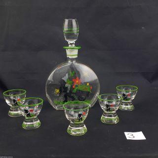 Schnapsflasche 5 Schnapsgläser Antik Glas Emaille Likör Karaffe Handbemalt Zwerg Bild