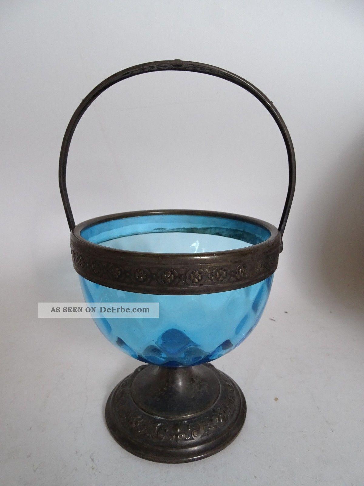 Seltene Wmf Rarität Metall Blaues Glas Antike Fuß Henkelschale Vor 1900 Sammlerglas Bild