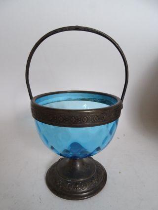 Seltene Wmf Rarität Metall Blaues Glas Antike Fuß Henkelschale Vor 1900 Bild