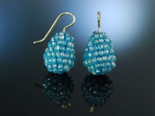 Stylish Blue Agate Earrings Ohrringe Gold 585 Blau Achate Bild