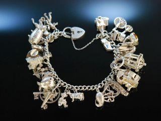 Silver Charm Bracelet Vintage Bettel Armband Silber 925 England Um 1970 Bild