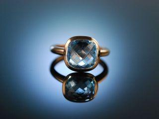 Italian Style Grosser Ring RosÉ Gold 750 Blue Topas Schachbrettschliff Bild