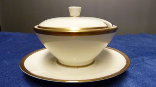 Rosenthal Bettina 50er Jahre Porzellan - Zuckerdose Klein - Elfenbein/gold Bild