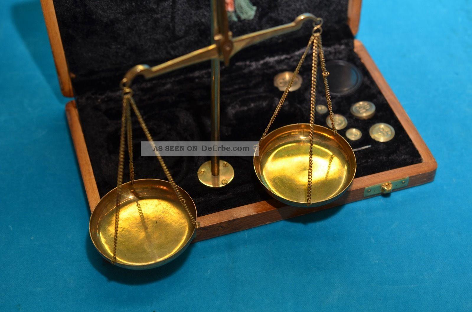 Alte Münzwaage Goldwaage Balkenwaage In Holzbox Kaufleute & Krämer Bild