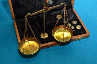 Alte Münzwaage Goldwaage Balkenwaage In Holzbox Bild