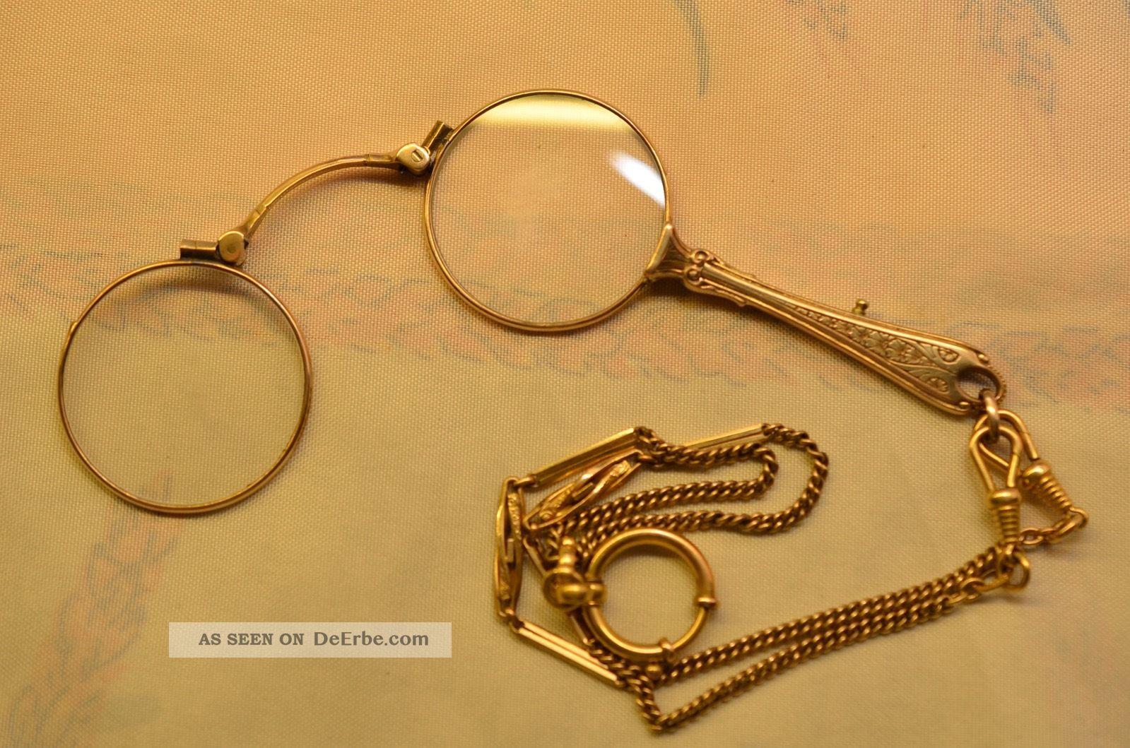 Altes Antikes Goldfarbenes Lorgnon Sehhilfe 1910/1920 Optiker Bild