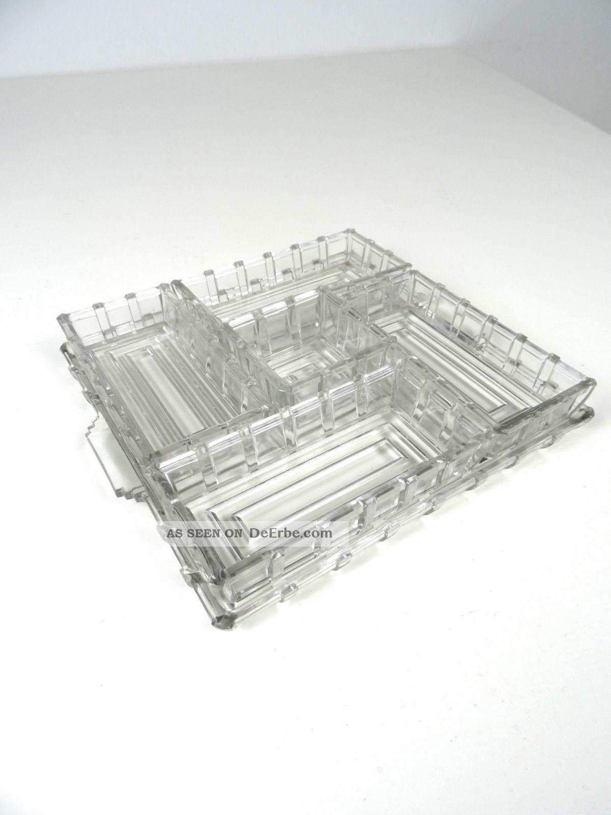Art Deco Servier Tablett Frankreich 1930 Anbietschale Geometrisch Glas 1920-1949, Art Déco Bild