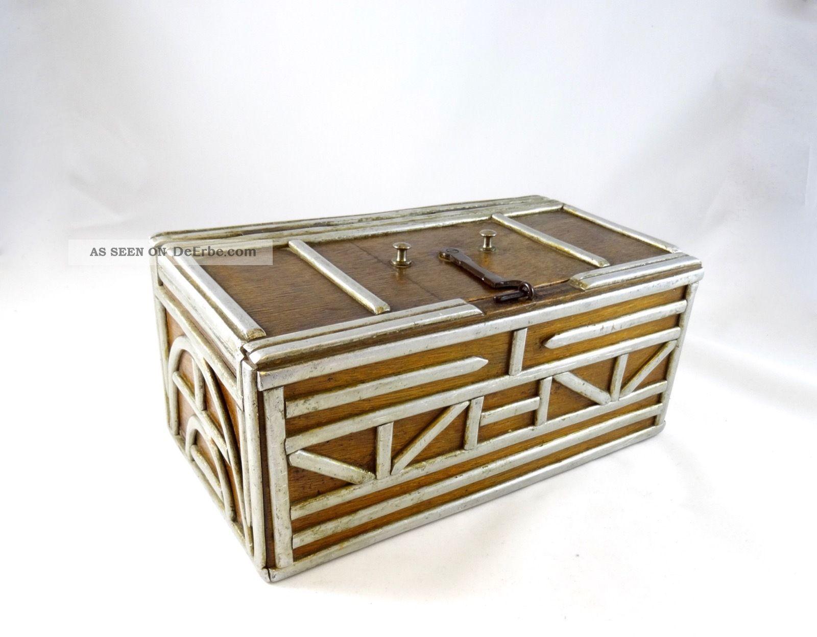 Sehr Seltene Art Deco Schatulle Um 1930 Geometrische Alu BeschlÄge Industrie 1920-1949, Art Déco Bild