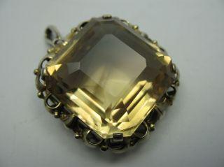 Prächtiger Wunderschöner Alter Anhänger Aus Vergoldetem Silber Mit Goldtopas Bild
