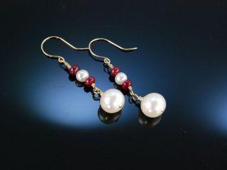 Klassische Ohrringe Gold Zucht Perlen Rubine OhrhÄnger Pearl And Ruby Earrings Bild