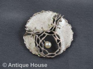 Schmuck Schmuckstück Kl Design Brosche Anstecknadel Silber 835 Mit Perle Bild