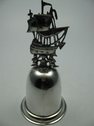 Sehr Schöne Massive 835 Silber Glocke Tischglocke Mit Schiff Bild