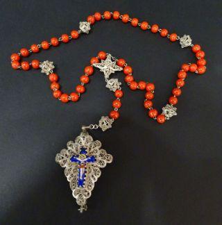 Antiker Rosenkranz Mit Herrlichen Verzierungen Blaues Kreuz Rote Kugeln Bild