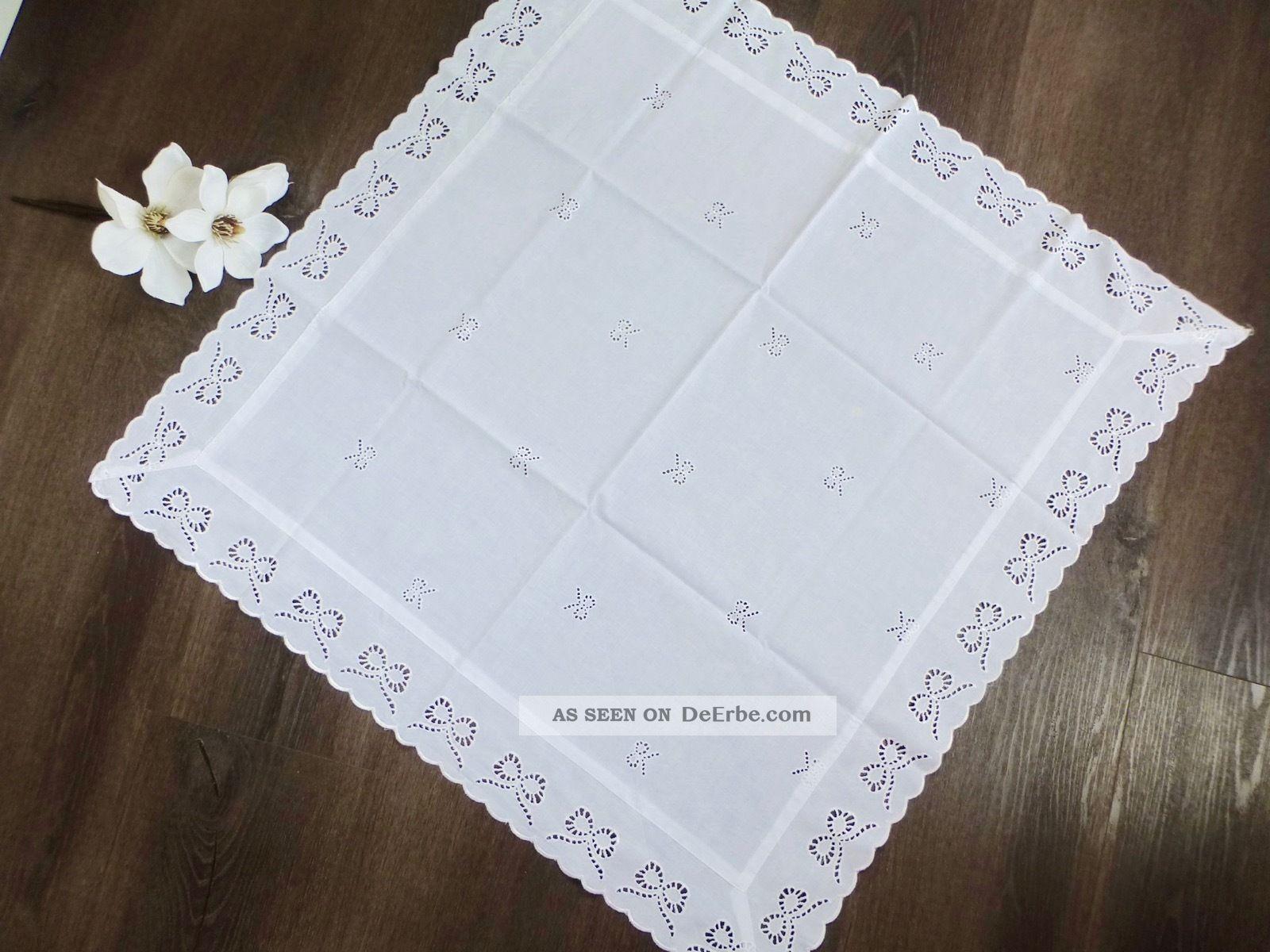 Tischdecke ✿ Mitteldecke Spitzendecke Richelieu Weiß Landhaus Nostalgie 81x81cm Tischdecken Bild