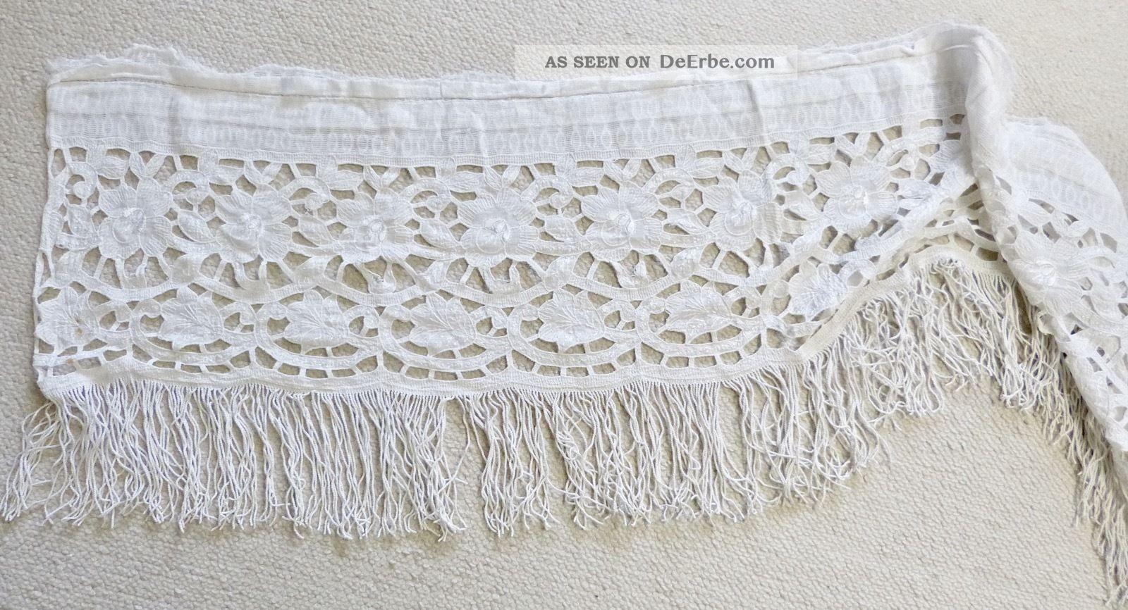 Schöne Antike Vintage Spitzenborte Spitze Von Vorhang Textilien & Weißwäsche Bild