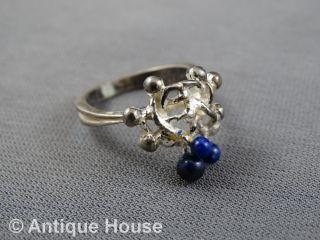 Silber 925 Schmuck Schmuckstück Ring Filigran Gearbeitet - Blaue Schmucksteine Bild