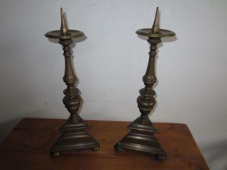 Paar Altarleuchter Leuchter Bronze 19.  Jh.  Kirchenleuchter H Ca.  43 Cm Antik Bild