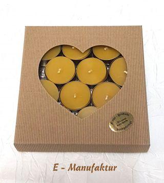Bienenwachskerzen - 12 Stück Teelichter Aus 100 Echtem Bienenwachs In Goldenen Bild