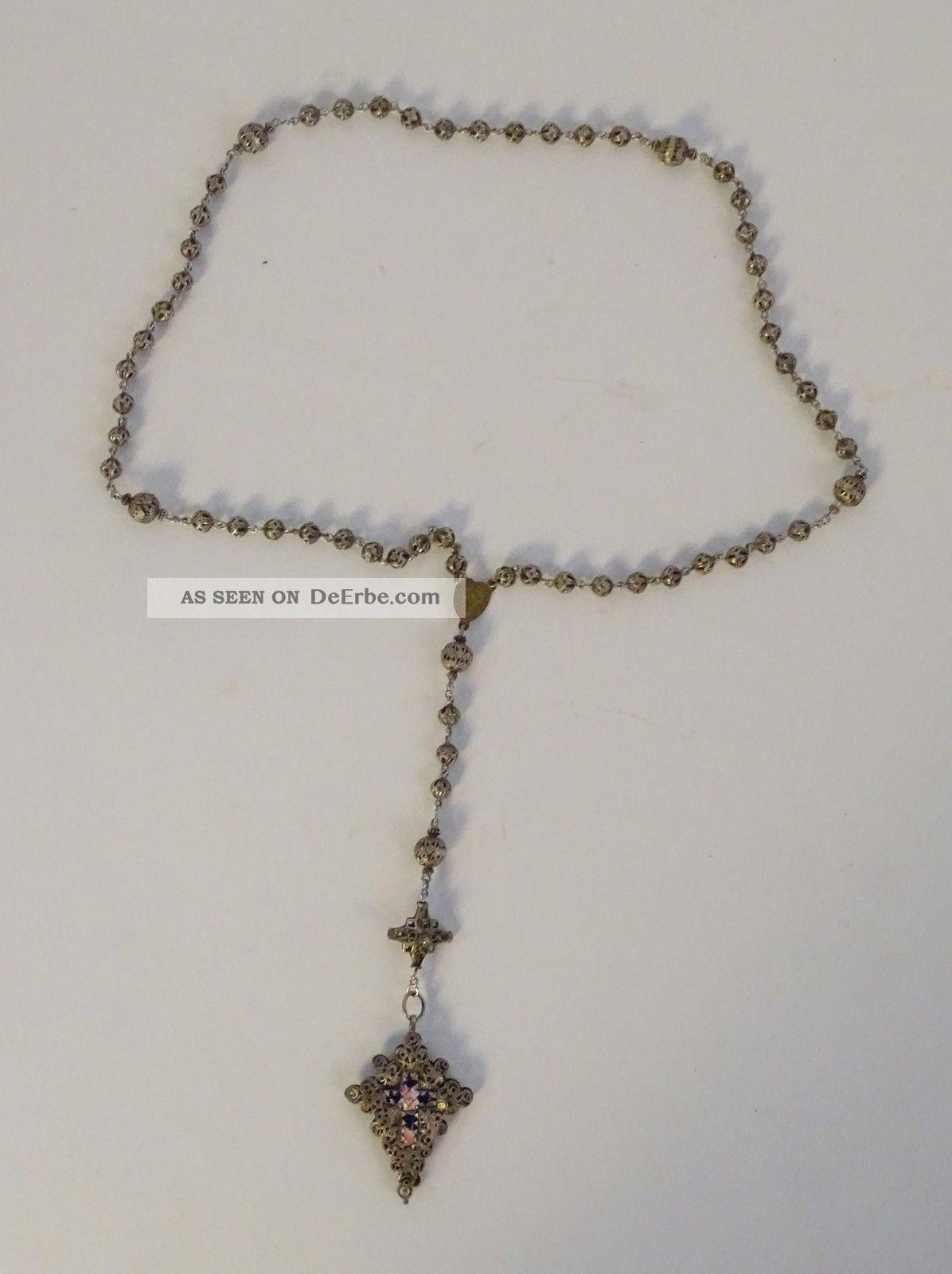 Ausgefallener Antiker Rosenkranz Großes Kreuz Blau Silber Religiöse Volkskunst Rosenkränze Bild
